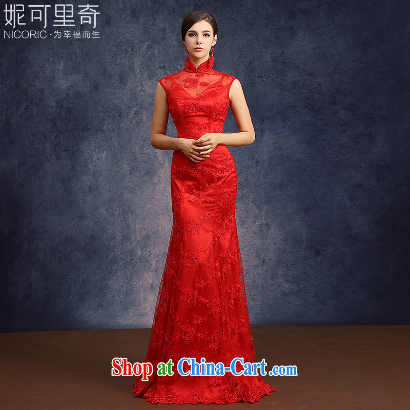 Kidman, bridal wedding bows new, summer 2015 fashion sweet red long Chinese, qipao for cultivating graphics thin red Advanced Customization 15 day shipping