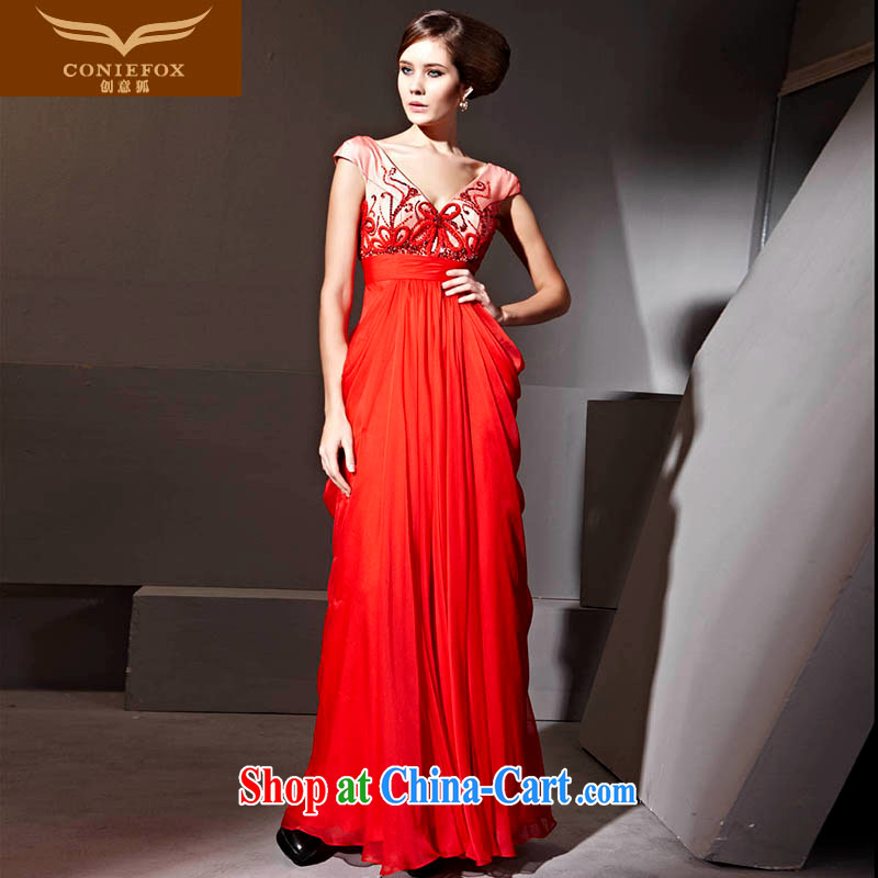 Creative Fox Evening Dress red wedding dress bridal toast serving festive evening dress sense of deep V banquet dress dress presided over 81,135 red XXL