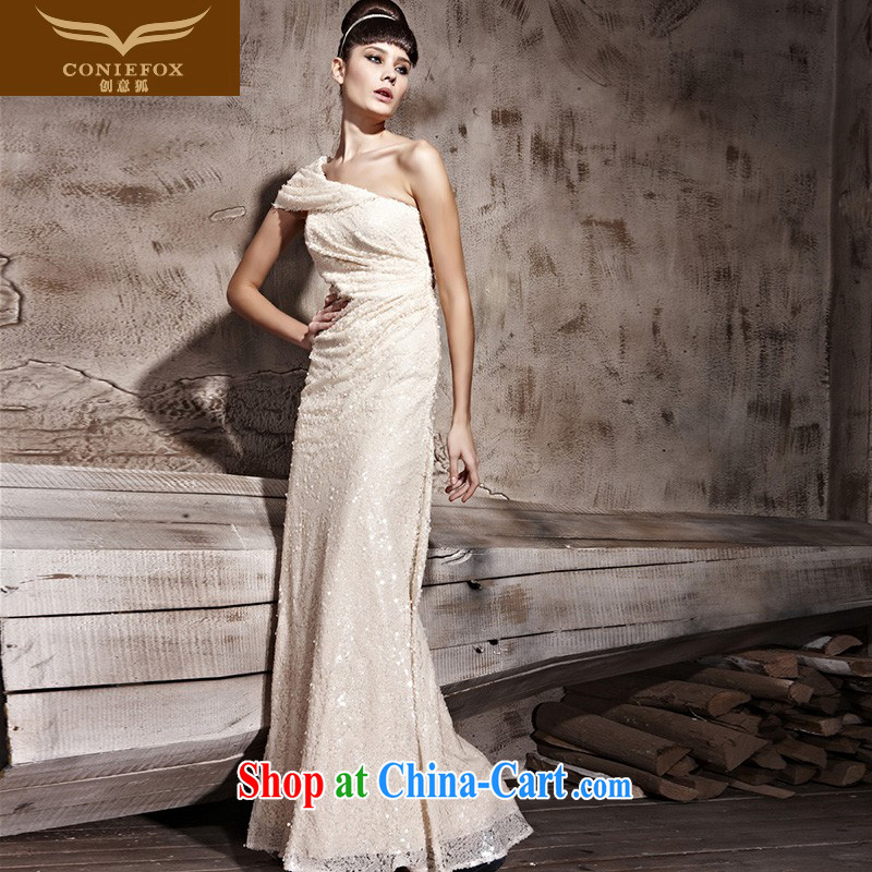 Creative Fox Evening Dress beauty graphics thin Korean-style evening dress evening dress uniform toast at Merlion dress diamonds material manually insert drill banquet dress 81,138 picture color XXL