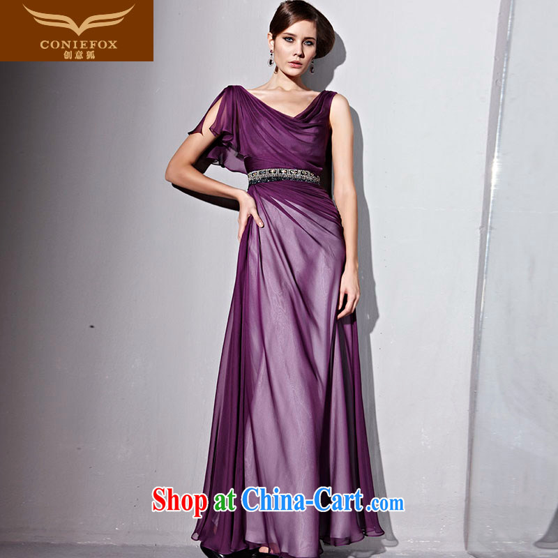 Creative Fox Evening Dress purple elegant long banquet dress Star Big Evening Dress dress long skirt Red Carpet dress show hosted 81,153 dresses purple M