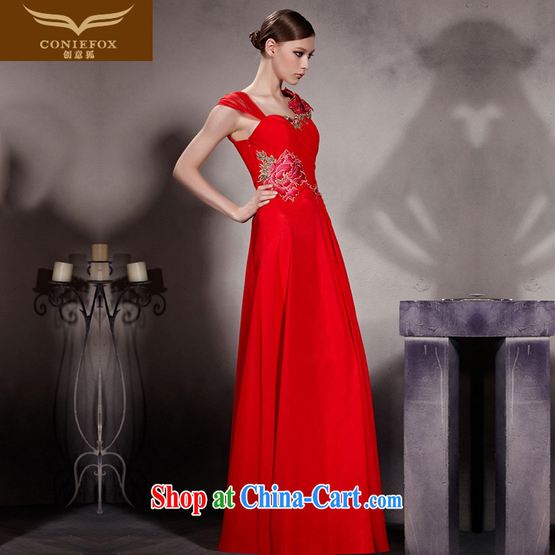 Creative Fox Evening Dress bridal wedding dress evening dress uniform toasting Red classic cheongsam dress elegant and noble hospitality dress long skirt 30,603 picture color XXL