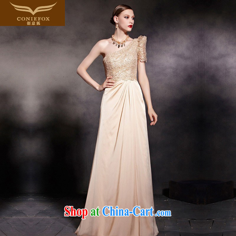 Creative Fox Evening Dress gold single shoulder dress elegant and noble a shoulder the dress stylish lace banquet evening dress uniforms long dress 30,605 picture color XXL