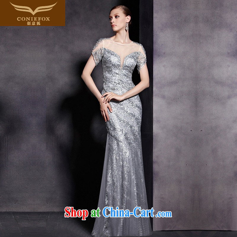 Creative Fox Evening Dress upscale luxury silver-banquet dress double-shoulder-length, fall dress Show Exhibition dress presided over 81,836 dresses picture color XXL