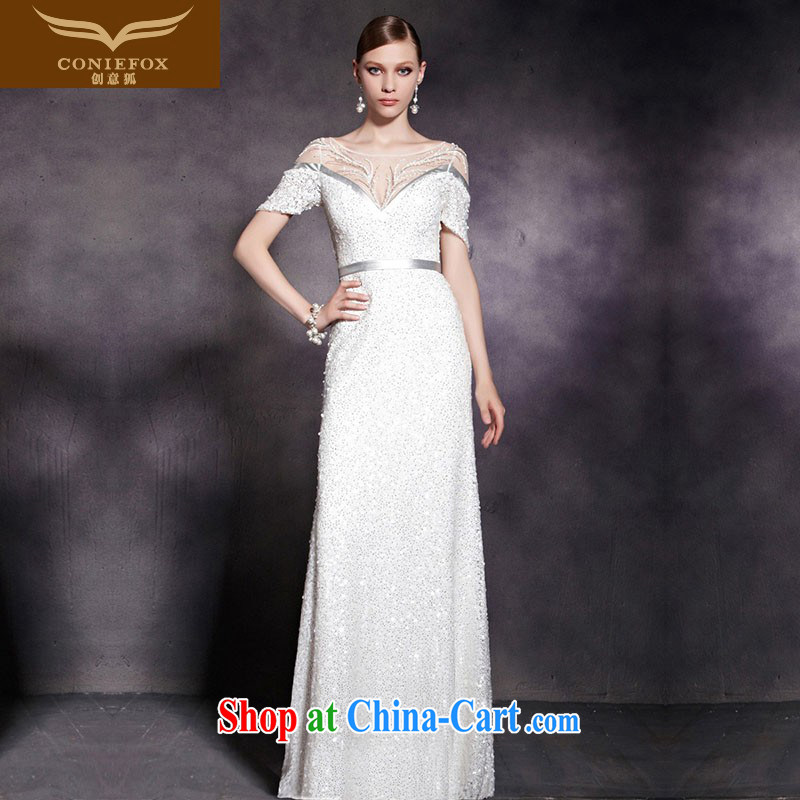 Creative Fox Evening Dress white wedding dresses long, upscale luxury, banquet dress bows dress bridesmaid serving the performance dress 30,295 white L