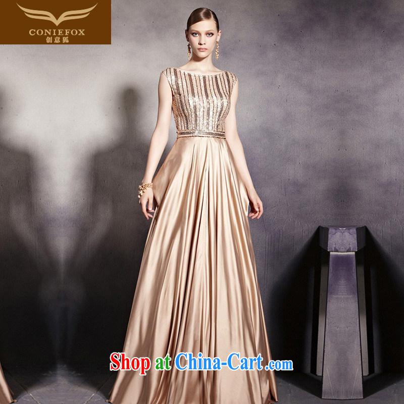 Creative Fox Evening Dress stylish shoulders gold banquet dress classy long chair dress dress evening dress uniform toast bridesmaid dress 30,530 picture color L