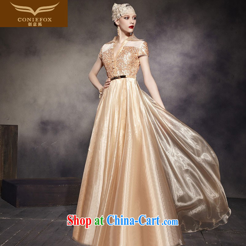 Creative Fox dress Stylish retro gold Princess dress shoulders fall long evening dress performances dress the dress long skirt 30,565 picture color XXL