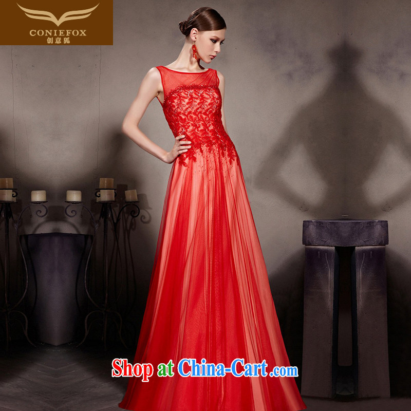 Creative Fox Evening Dress sexy shoulders red bridal wedding dress high quality parquet drill evening dress bows. Stylish fall dress Red Carpet dress 30,609 picture color XXL