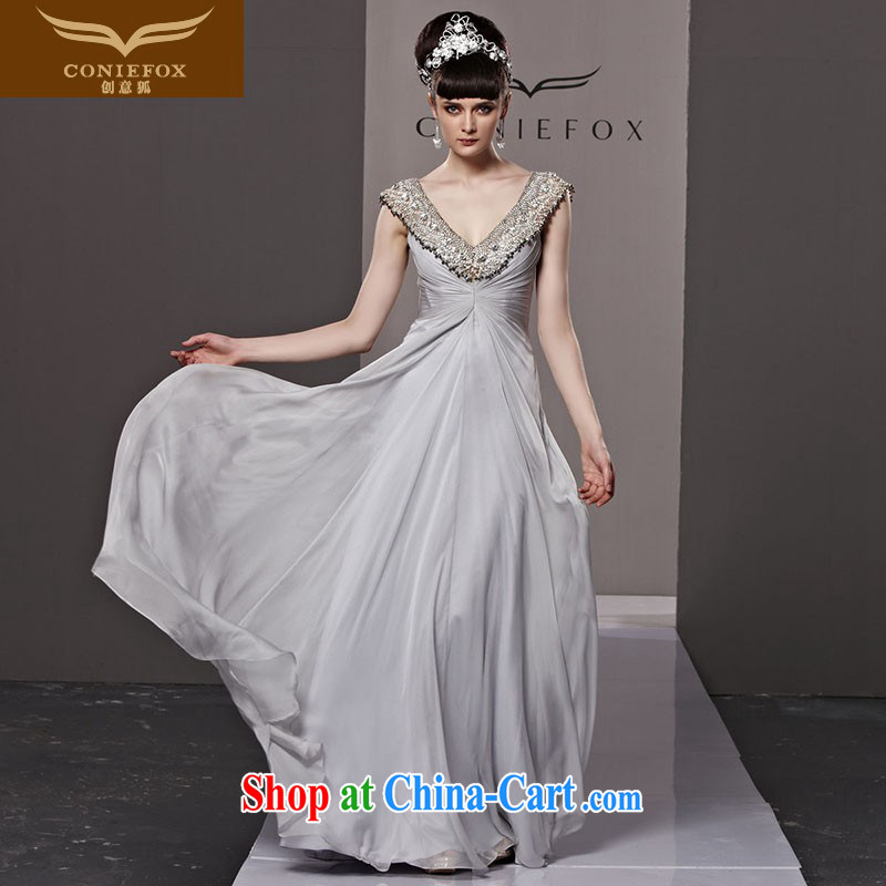 Creative Fox dress upscale luxury parquet drill banquet dress high waist long, deep V dress wedding toast service annual meeting presided over 81,112 dresses picture color S