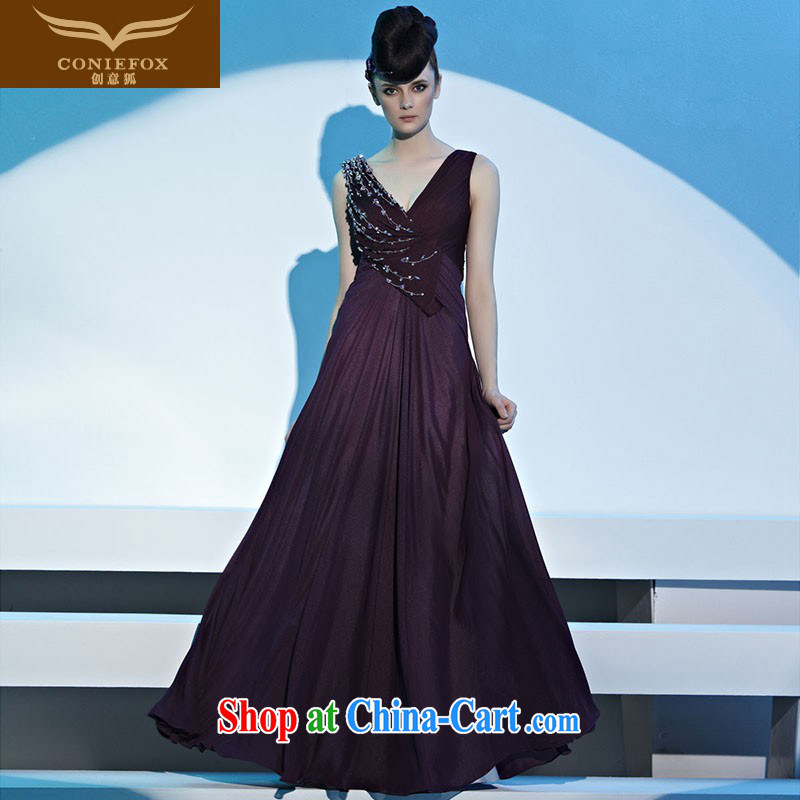 Creative Fox dress deep purple V banquet dress exclusive evening dress uniform toast long performances, dress up show host Red Carpet dress long skirt 81,193 picture color L