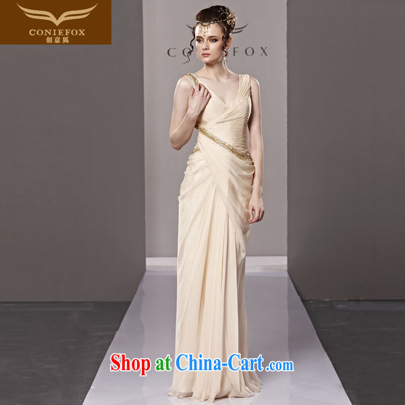 Creative Fox Evening Dress fashion sense of deep V dress bridal evening dress uniform bows elegant and noble annual meeting chair dress dress uniform performance 81,215 picture color L