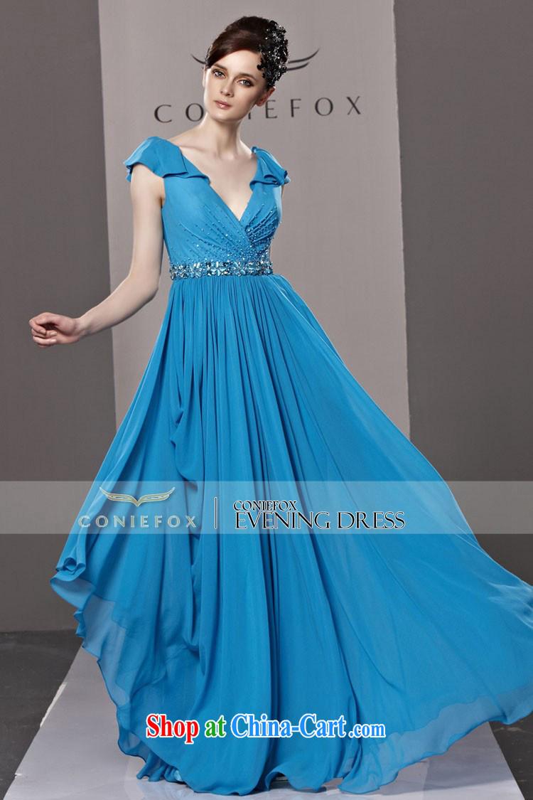 Creative Fox dress blue chair banquet with deep V sexy wedding dress ...