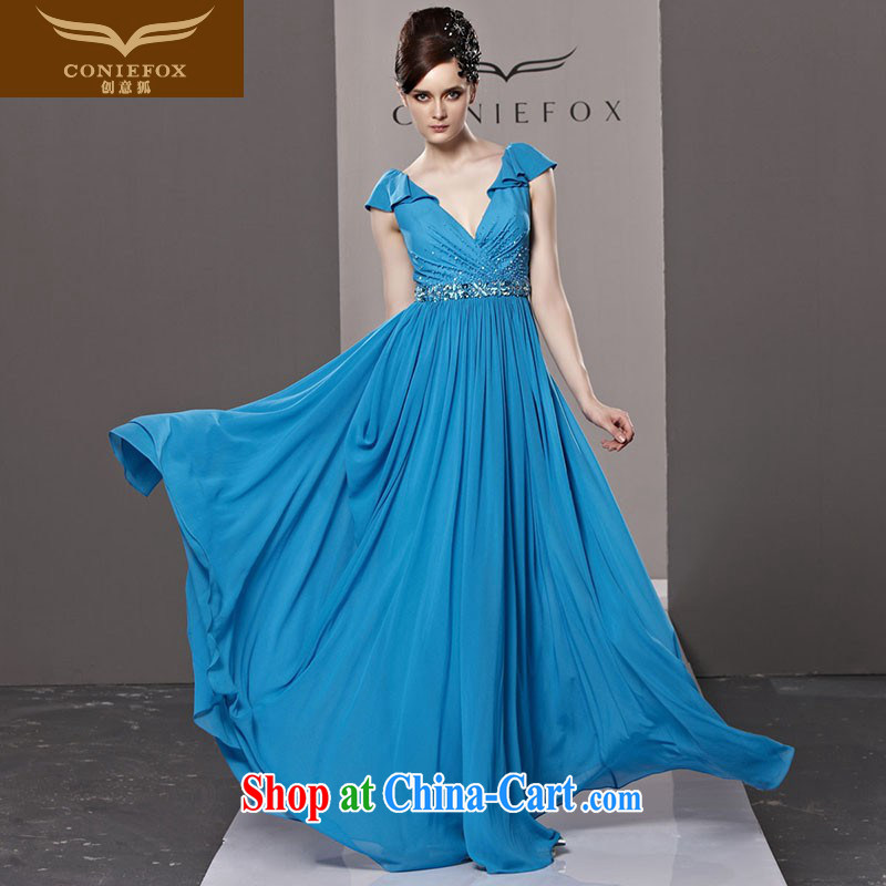 Creative Fox dress blue chair banquet with deep V sexy wedding dress upscale bridal toast dress Red Carpet show dress long skirt 81,219 picture color XL