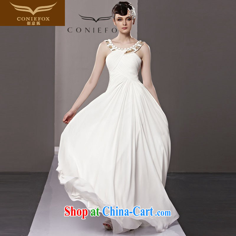 Creative Fox Evening Dress bridal wedding dress long bridesmaid dress dress white elegant banquet dress show annual meeting presided over 81,236 dresses white XL