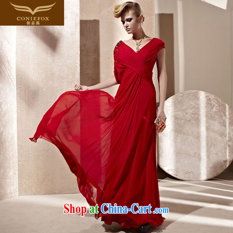 Creative Fox dress red bridal wedding dress sexy package shoulder deep V evening dress toast stage long dress Red Carpet dress 81,253 picture color XL