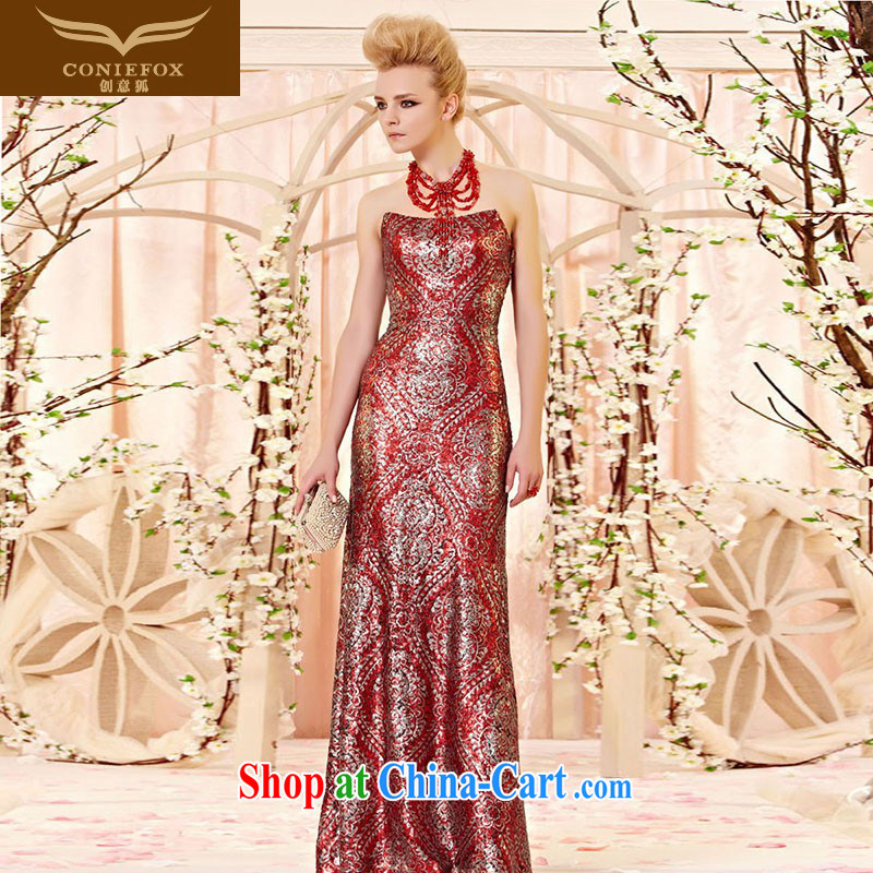 Creative Fox stylish curved collar wiped chest banquet dress wedding toast serving upscale red carpet walk Soo dress the annual dress skirt 30,303 picture color XXL