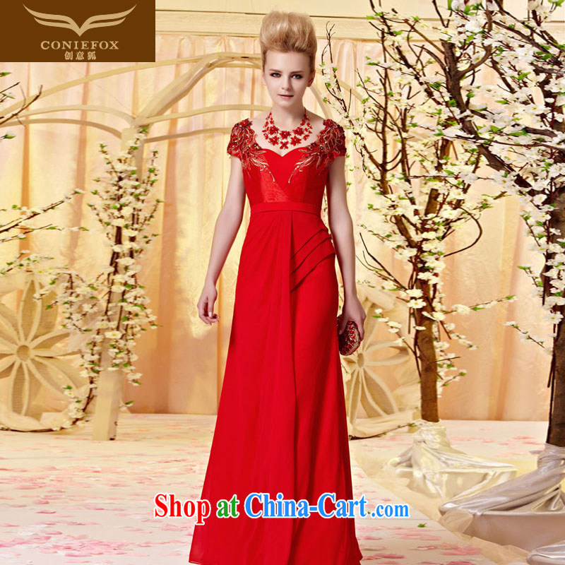 Creative Fox dress and elegant package shoulder embroidered dress skirt video thin Evening Dress bows. Elegant and classy red bridal wedding dress long, 30,320 picture color S