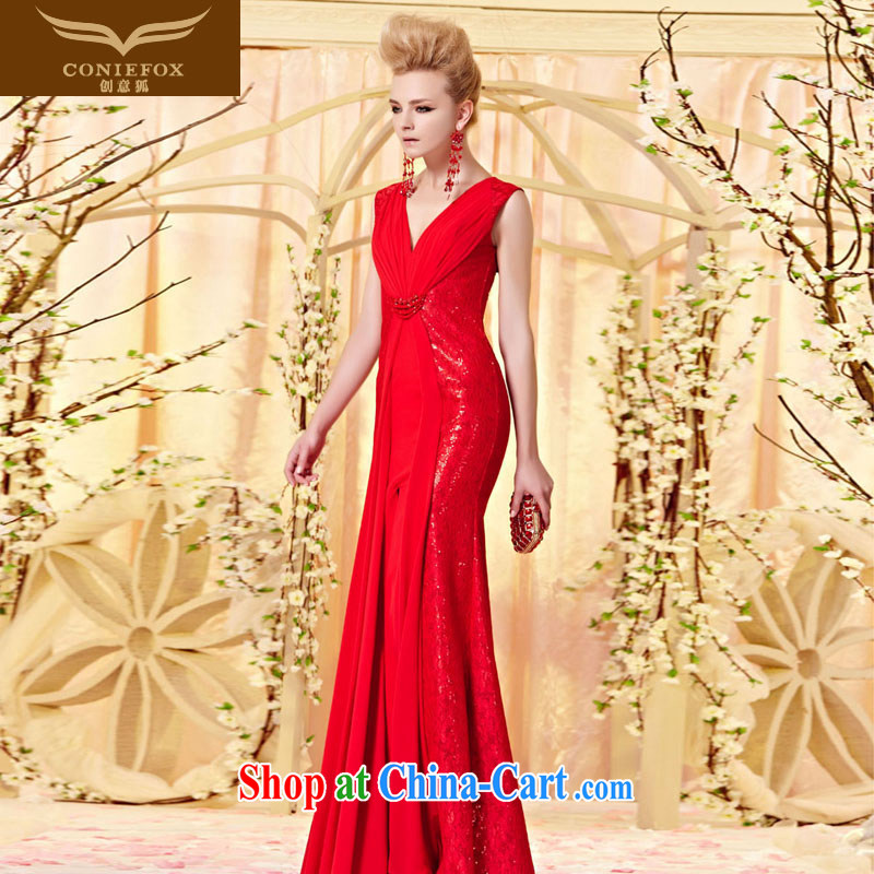Creative Fox Evening Dress elegant sexy Deep V lace Evening Dress red toast wedding dresses evening dress long show red carpet dress 30,356 picture color XXL