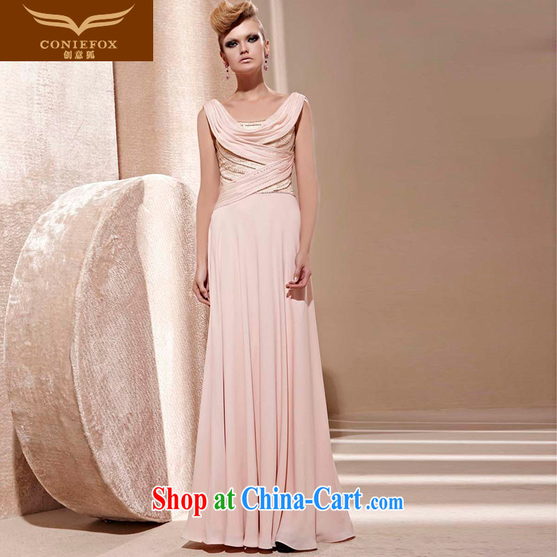 Creative Fox Evening Dress elegant and noble wood drill banquet dress long bridesmaid dress evening dress uniform toast fall chair dress long skirt 81,261 picture color L