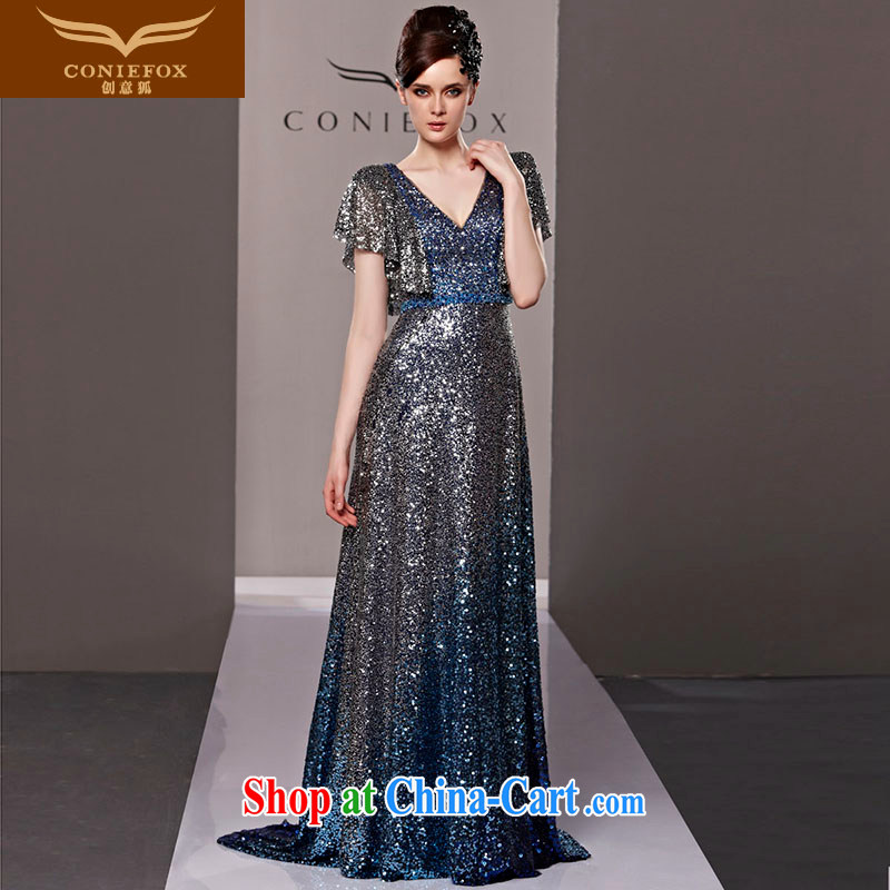 Creative Fox dress sense of deep V banquet dress fashion, Evening Dress toast serving long fall dress skirt the annual 81,283 dresses picture color S