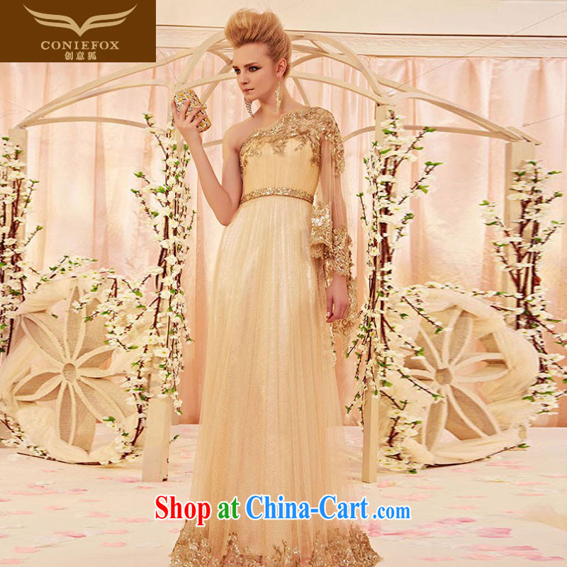 Creative Fox Evening Dress elegant personalized single shoulder embroidered evening dress bridal wedding dress the annual dress upscale luxurious banquet evening dress 30,358 picture color XL pre-sale