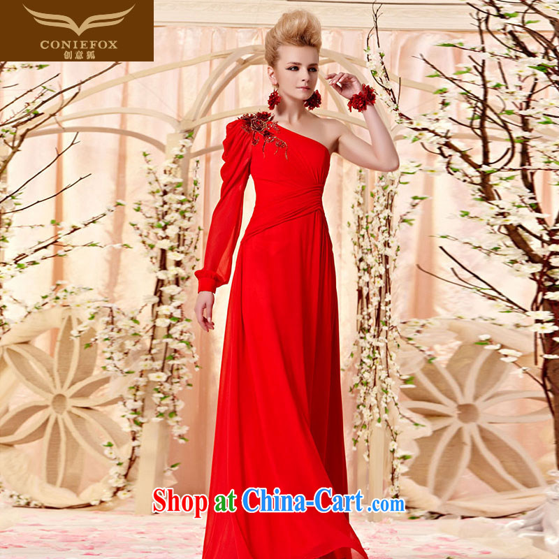 Creative Fox dress early autumn new elegant single shoulder long sleeved evening dress red bridal beauty evening dress dress dress wedding toast serving 30,359 picture color XXL