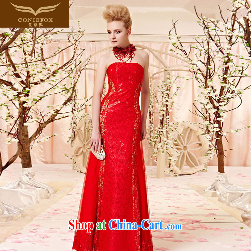 Creative Fox dress sense, only the US lace bare chest long evening dress skirt red bridal wedding dress banquet evening dress toast 30,361 picture color XXL