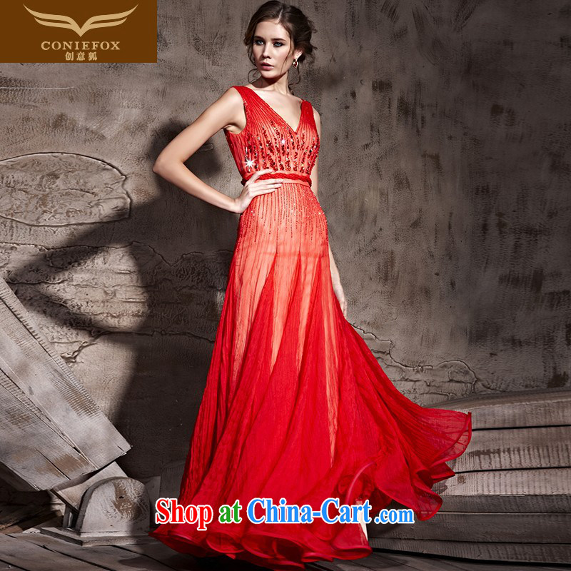 Creative Fox Evening Dress red sexy deep V bridal wedding dress classy evening dress toast service banquet long beauty wedding dresses 81,203 red XL
