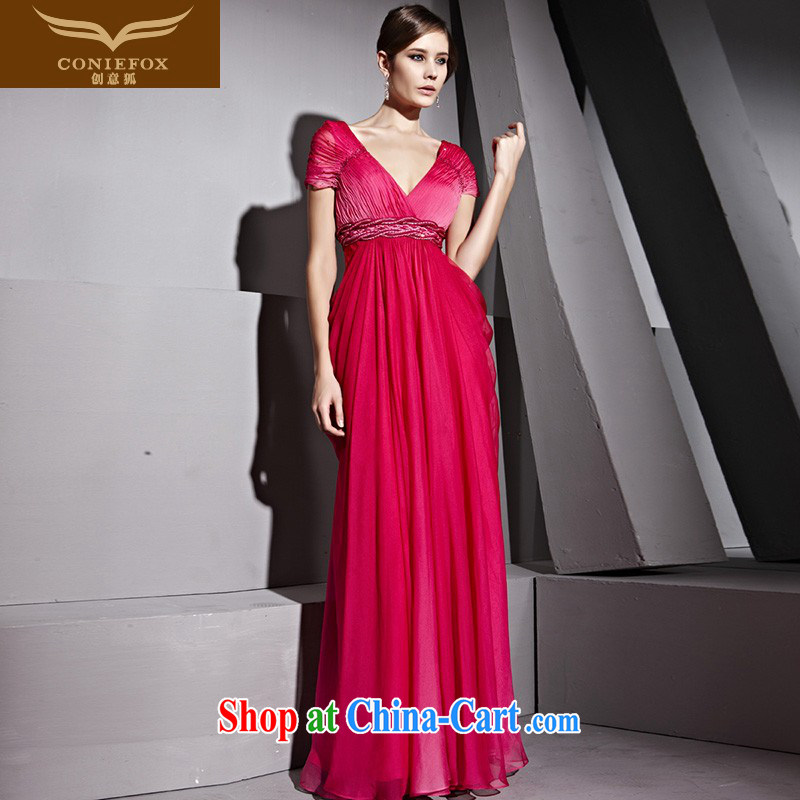 Creative Fox Evening Dress red deep V sexy banquet dress evening dress toast Service Bridal wedding dress double-shoulder-length, the dress skirt 81,208 picture color XL