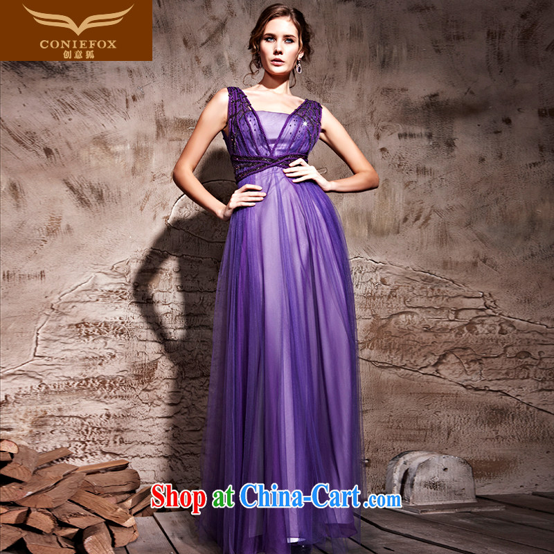Creative Fox Evening Dress purple softness sexy banquet dress Evening Dress toast stage photography dress waist-long video thin dress skirt 81,210 purple XXL
