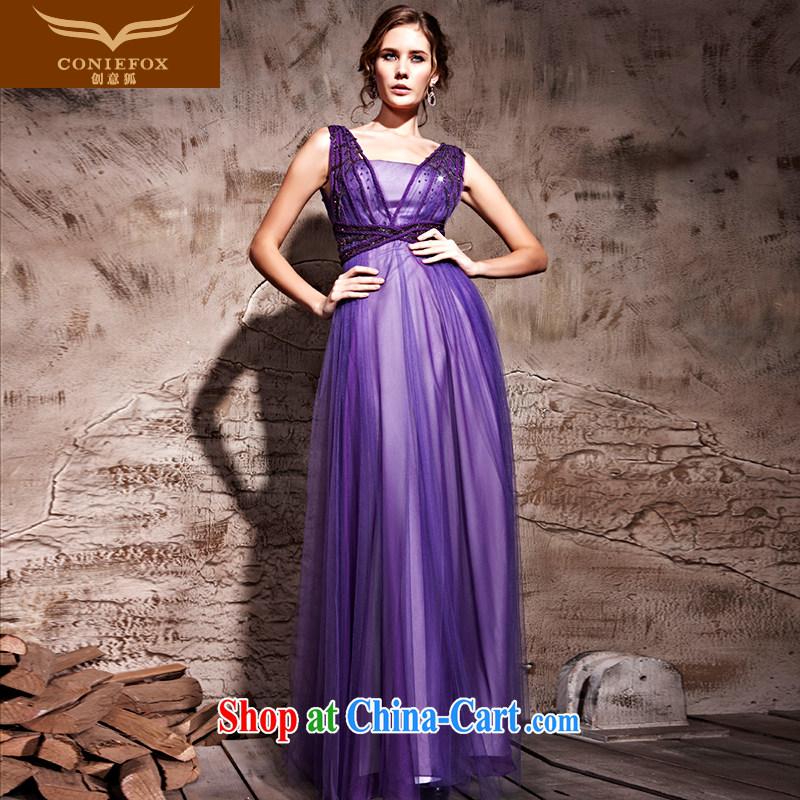Creative Fox Evening Dress purple softness sexy banquet dress Evening Dress toast stage photography dress waist-long video thin dress skirt 81,210 purple XXL