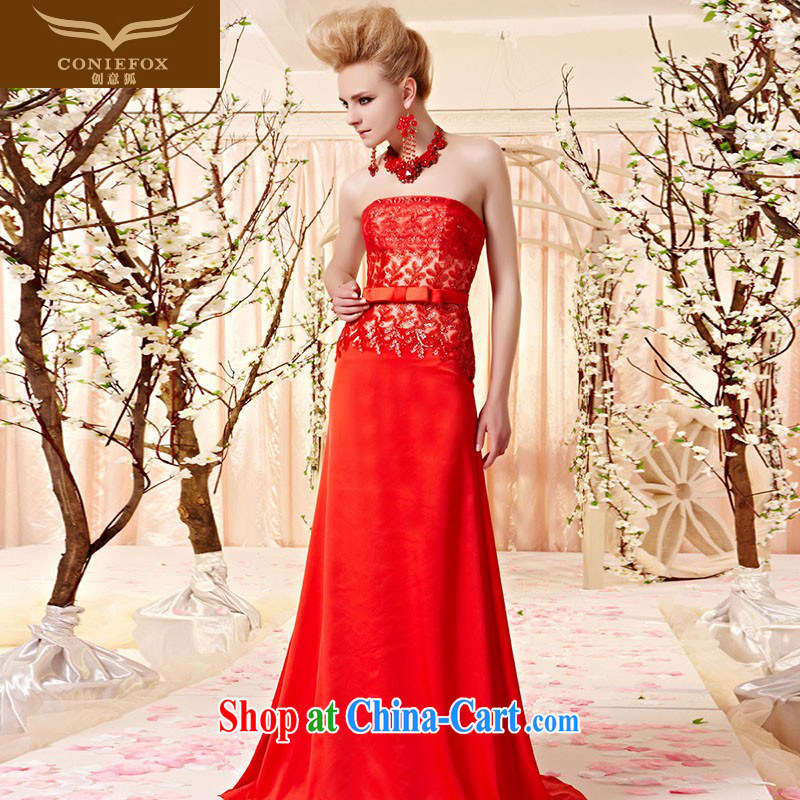 Creative Fox dress sense of bare chest butterfly knot light drill marriage dress red bridal evening dress toast service banquet long dress long skirt 30,380 picture color XXL
