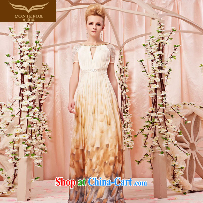 Creative Fox dress banquet Evening Dress dresses dream round-collar gradient flower dress dress sexy, long wedding dress 30,381 picture color L