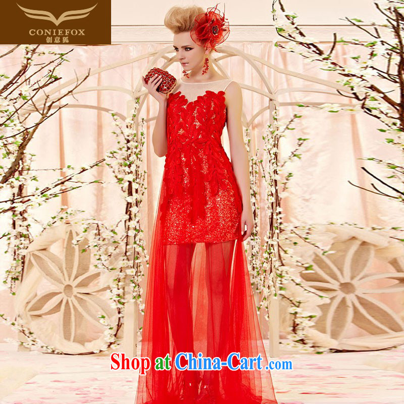 Creative Fox Evening Dress stylish lace nets banquet dress red flower petals wedding dress toast clothing spring and summer wedding dress dresses 30,396 picture color XXL