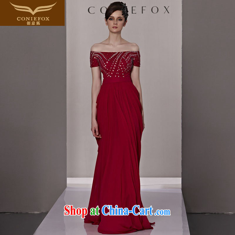 Creative Fox dress sense of the word shoulder red bridal wedding dresses and elegant parquet drill long, dress uniform toast fall and winter dress skirt 81,288 picture color XXL