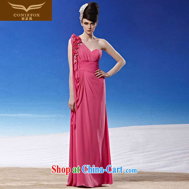 Creative Fox dress sense of the shoulder pink bridal wedding dresses elegant long bridesmaid dresses the annual dress Evening Dress long skirt 81,291 picture color XXL