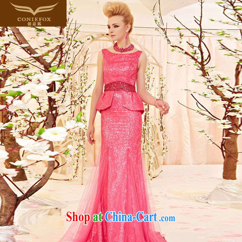 Creative Fox Evening Dress stylish european flouncing long evening dress water red bridal wedding dresses dresses the stage service 30,500 picture color XXL