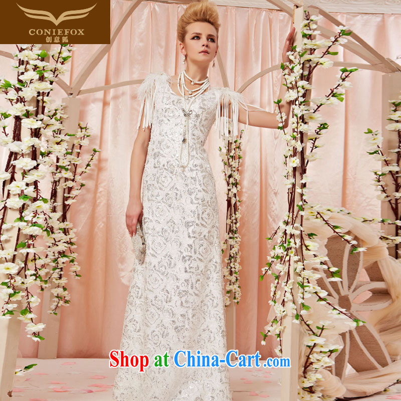 Creative Fox dress luxurious and elegant white wedding dresses dream roses stamp, evening dress bridal wedding dress long skirt 30,505 picture color XXL