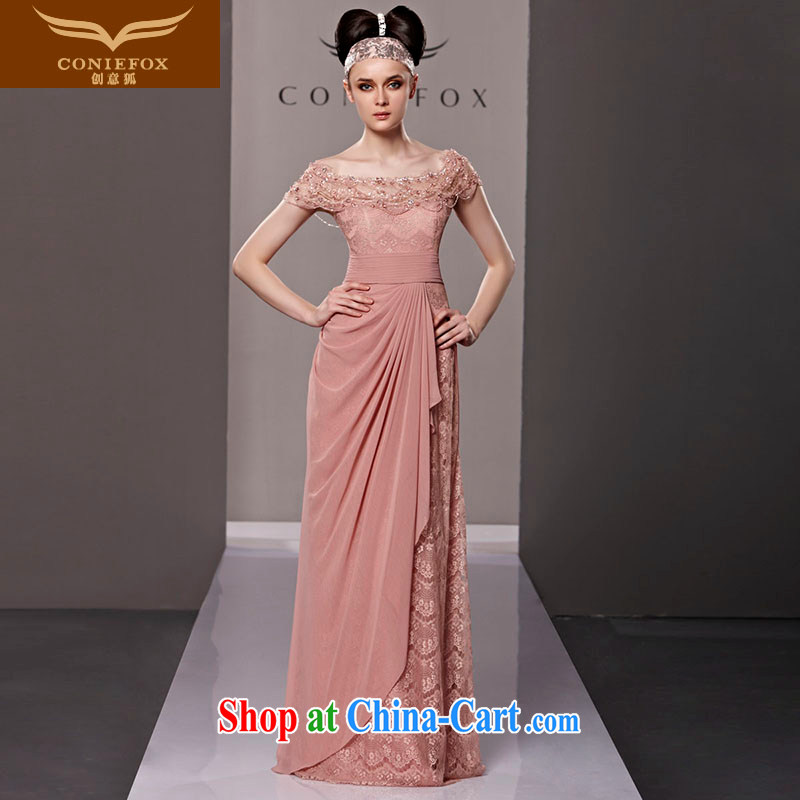 Creative Fox dress sense of the word shoulder pink bridal wedding dress beauty evening dress uniform bows elegant long lace dress presided over 81,315 dress picture color XL