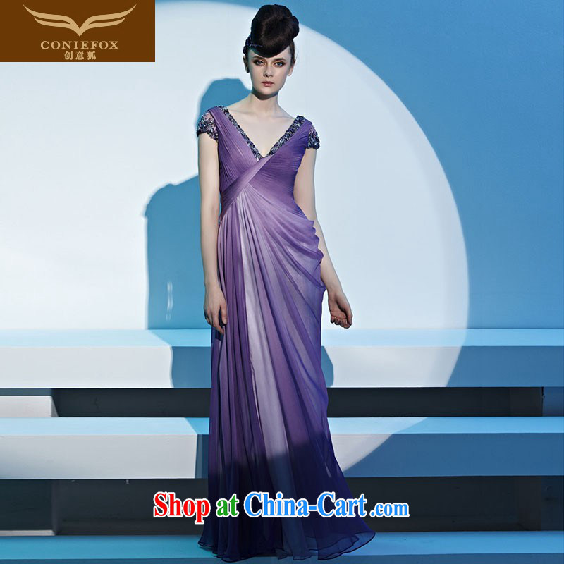 Creative Fox Evening Dress elegant long, deep sense V theatrical uniforms with long gown evening dress toast serving the annual dress long skirt 81,320 picture color XL