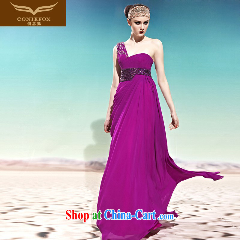 Creative Fox Evening Dress purple single shoulder bridal toast service wedding photography wedding dresses wedding wedding evening dress elegant long banquet dress purple 56,889 XXL