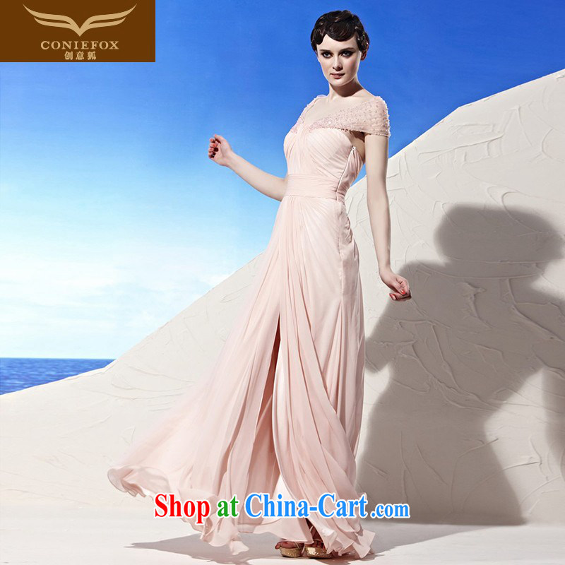 Creative Fox Evening Dress Pink Sweet Evening Dress sexy package shoulder dress beauty bridesmaid long dress uniforms dress presided over 56,891 pink XXL