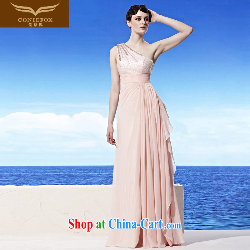 Creative Fox dress autumn and winter new ramp shoulder bows. The shoulder parquet drill dress elegant long bridesmaid dress long skirt appearances 56,892 dresses pink XXL