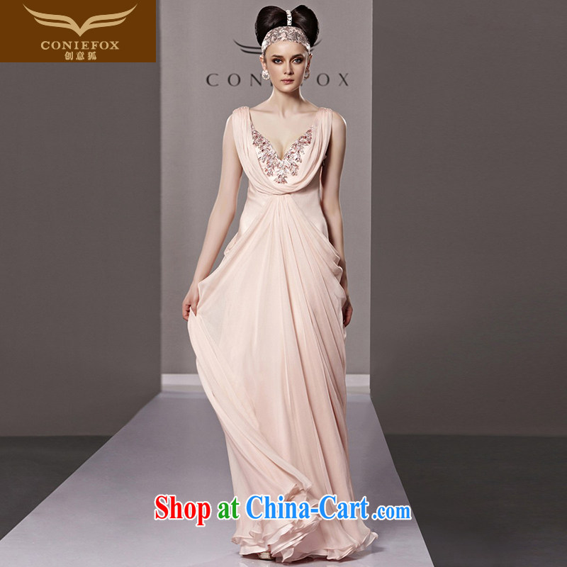 Creative Fox dress pink sexy Deep V Evening Dress wedding bridal wedding dress upscale long winter evening dress dress long skirt 81,180 picture color XXL
