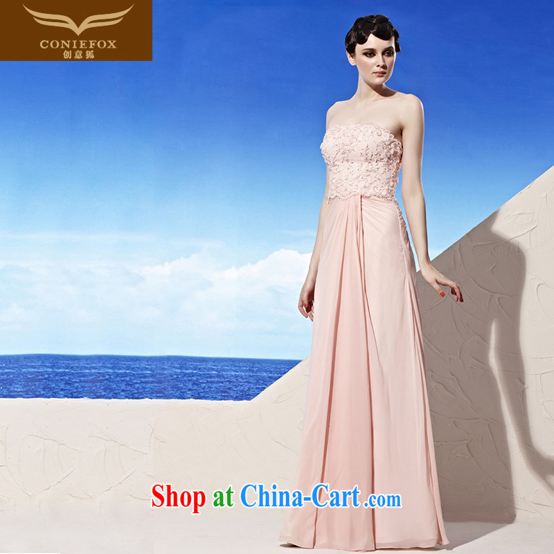 Creative Fox dress Pink Lady long erase chest wedding dress banquet bridal toast clothing evening dress dresses hospitality service presided over 56,918 dresses pink XXL