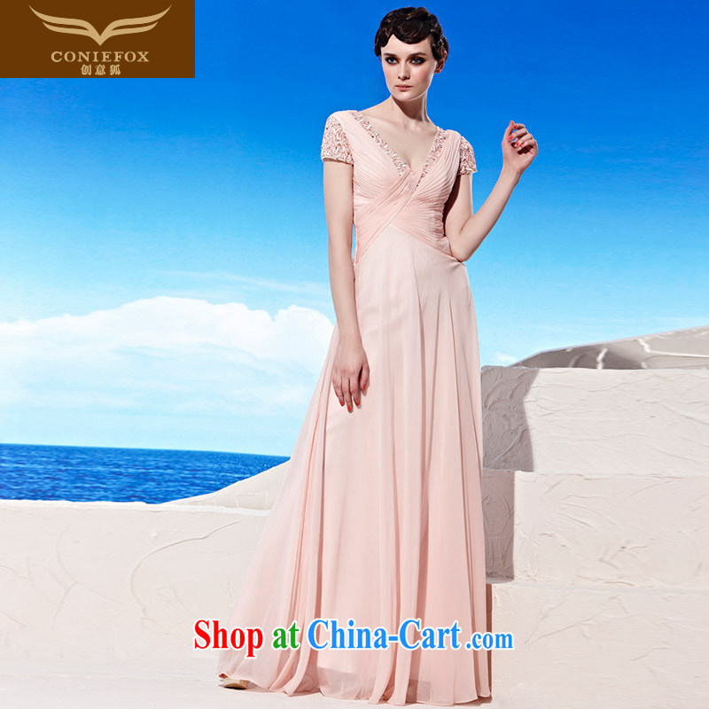 Creative Fox dress chaired annual banquet dress long sexy V collar dress bridal wedding dress beauty bridesmaid dress dress 56,919 pink S