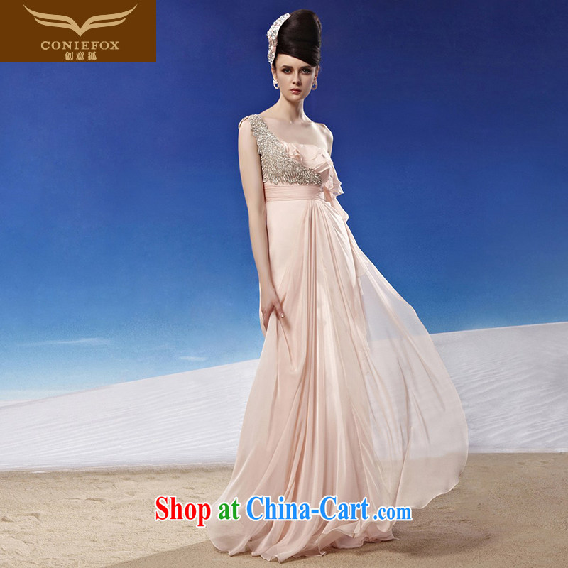 Creative Fox dress the annual dress long skirt pink, shoulder-length, sexy bride wedding dresses bridesmaid dress banquet toast serving 81,229 picture color XL