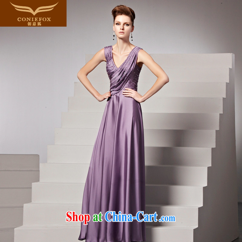 Creative Fox Evening Dress fall/winter New Long sexy purple shoulders V collar dress the annual dress skirt banquet evening dress toast serving 81,358 picture color XXL