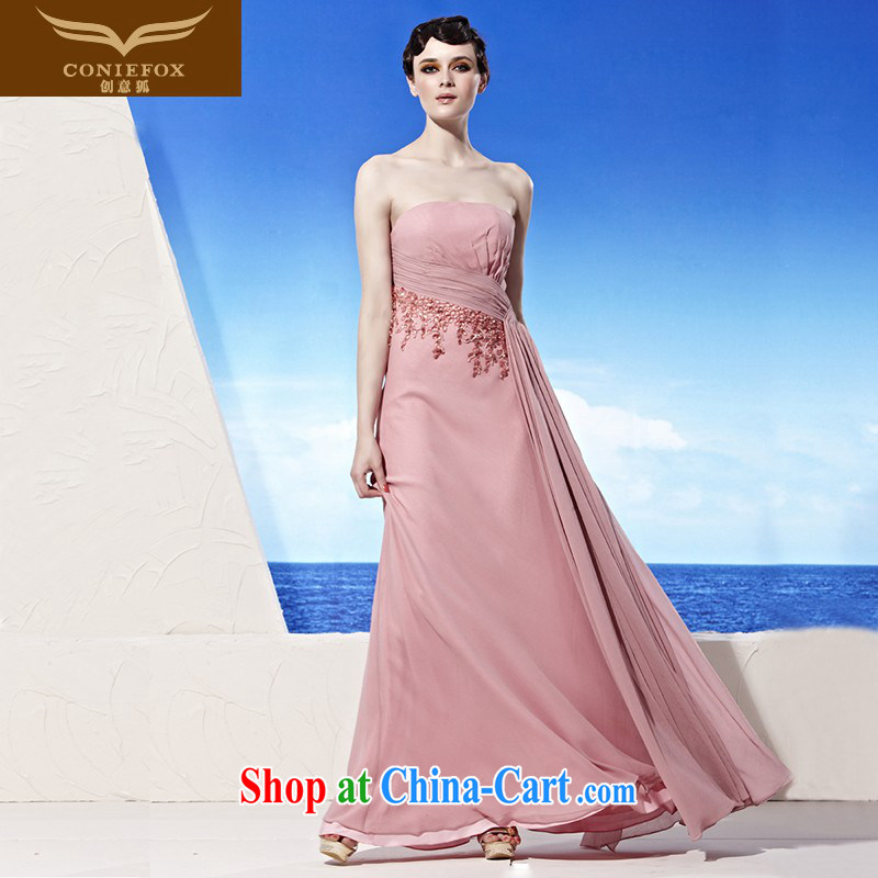 Creative Fox dress pink towel chest bridal wedding dress elegant long bridesmaid dress banquet toast serving the annual dress skirt 56,926 pink XXL