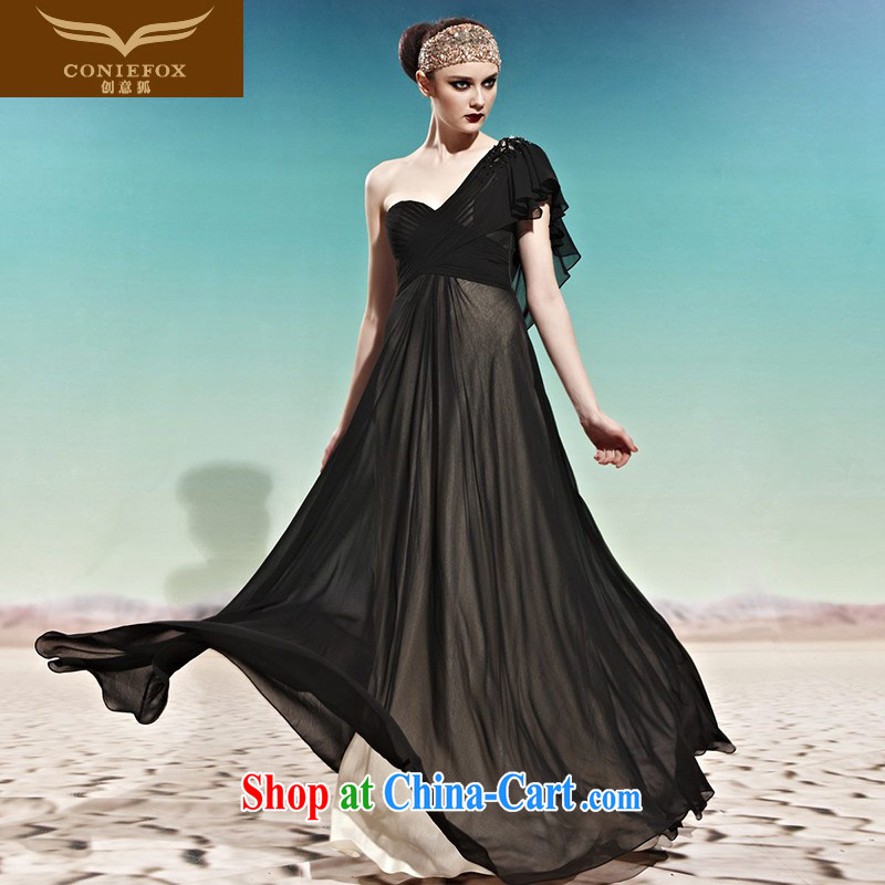 Creative Fox Evening Dress single shoulder-length dress, European-standard black smears chest evening dress evening dress with shoulder with dress banquet toast serving 56,930 black XXL