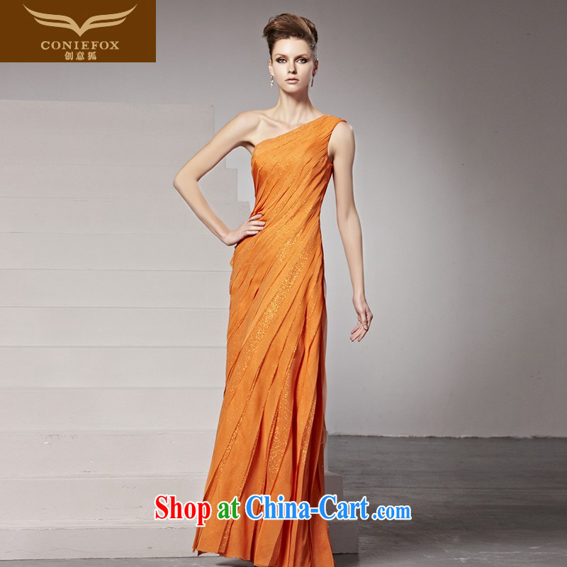 Creative Fox Evening Dress long evening dress single shoulder bridal gown exhibition moderator dress uniform toasting banquet evening dress dress stage at 81,390 dresses picture color XXL